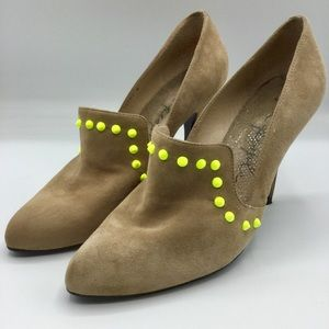 Free People Clara Tan Suede Studded Heels Size 8